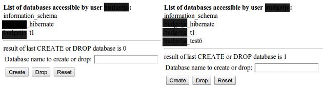 create drop database with Java/JSP