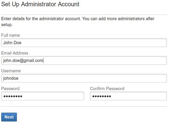 JIRA Wizard setup admin account