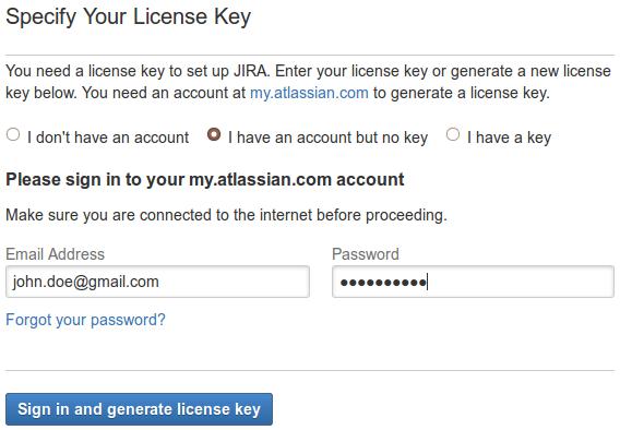 JIRA Wizard setup license