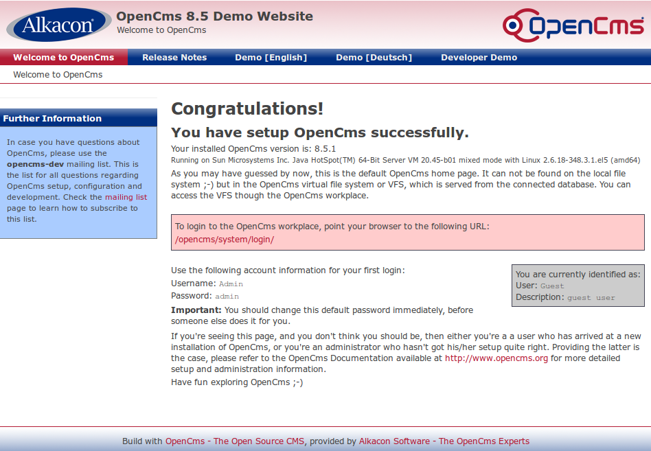 Final screen of OpenCMS installation