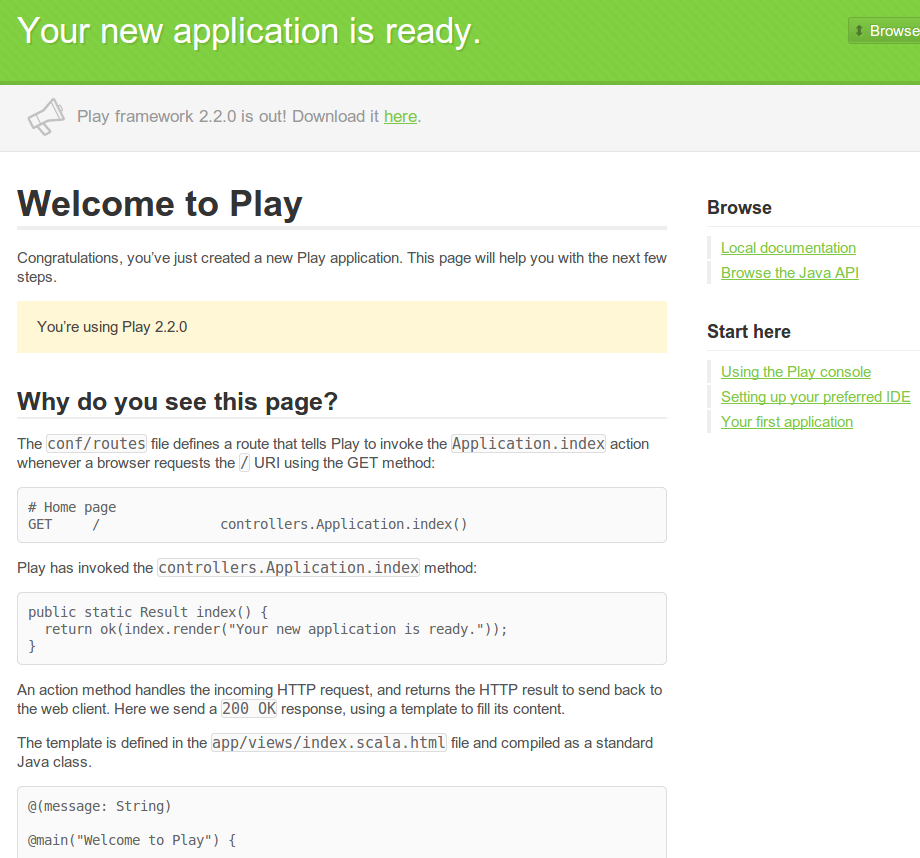 Play Framework Java Welcome page