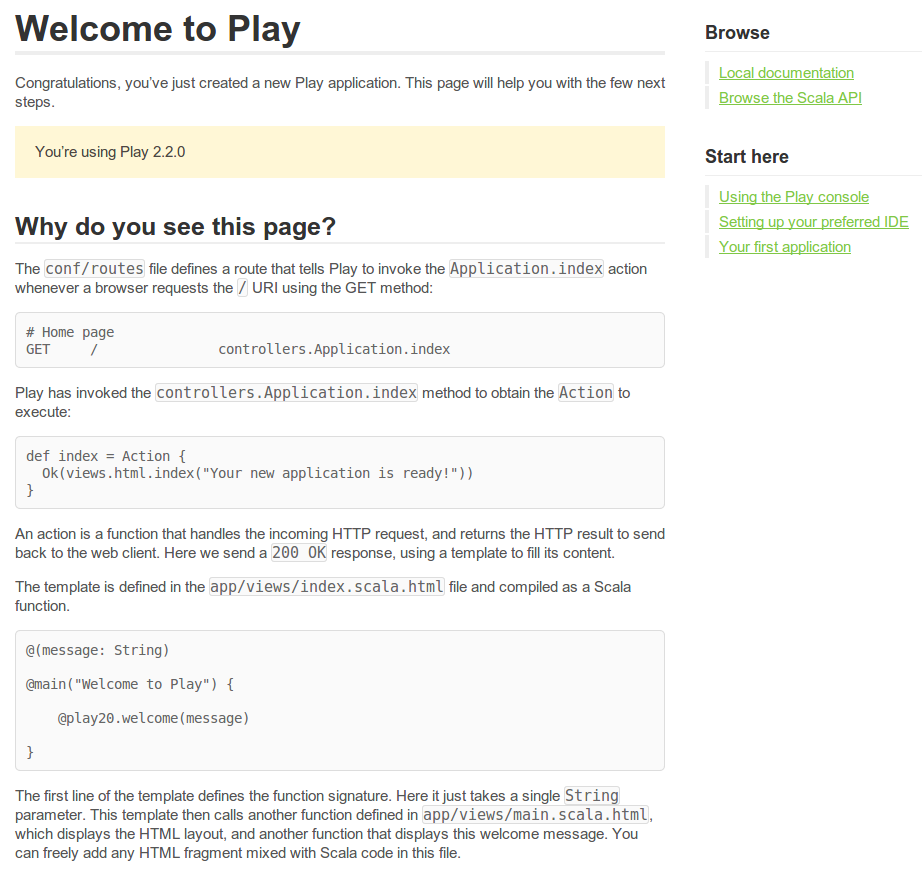 Play Framework Scala Welcome page
