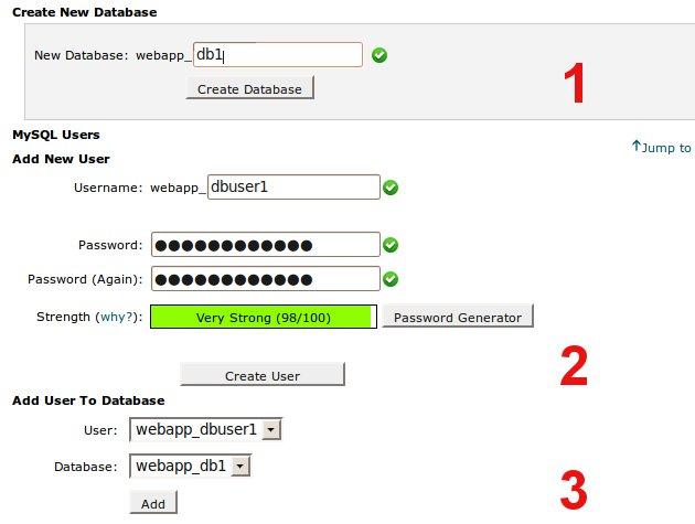 cpanel MySQL database creation